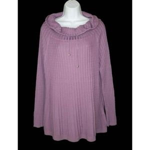 Soft Surroundings L Camryn Sweater Cowl Neck Cable